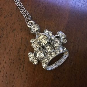 Silvertone rhinestone vintage Crown necklace